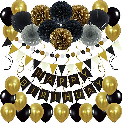 Happy birthday stylebanner clipart gold and white clip art free stock Black and Gold Party Decorations for 18th Birthday: Amazon.com clip art free stock