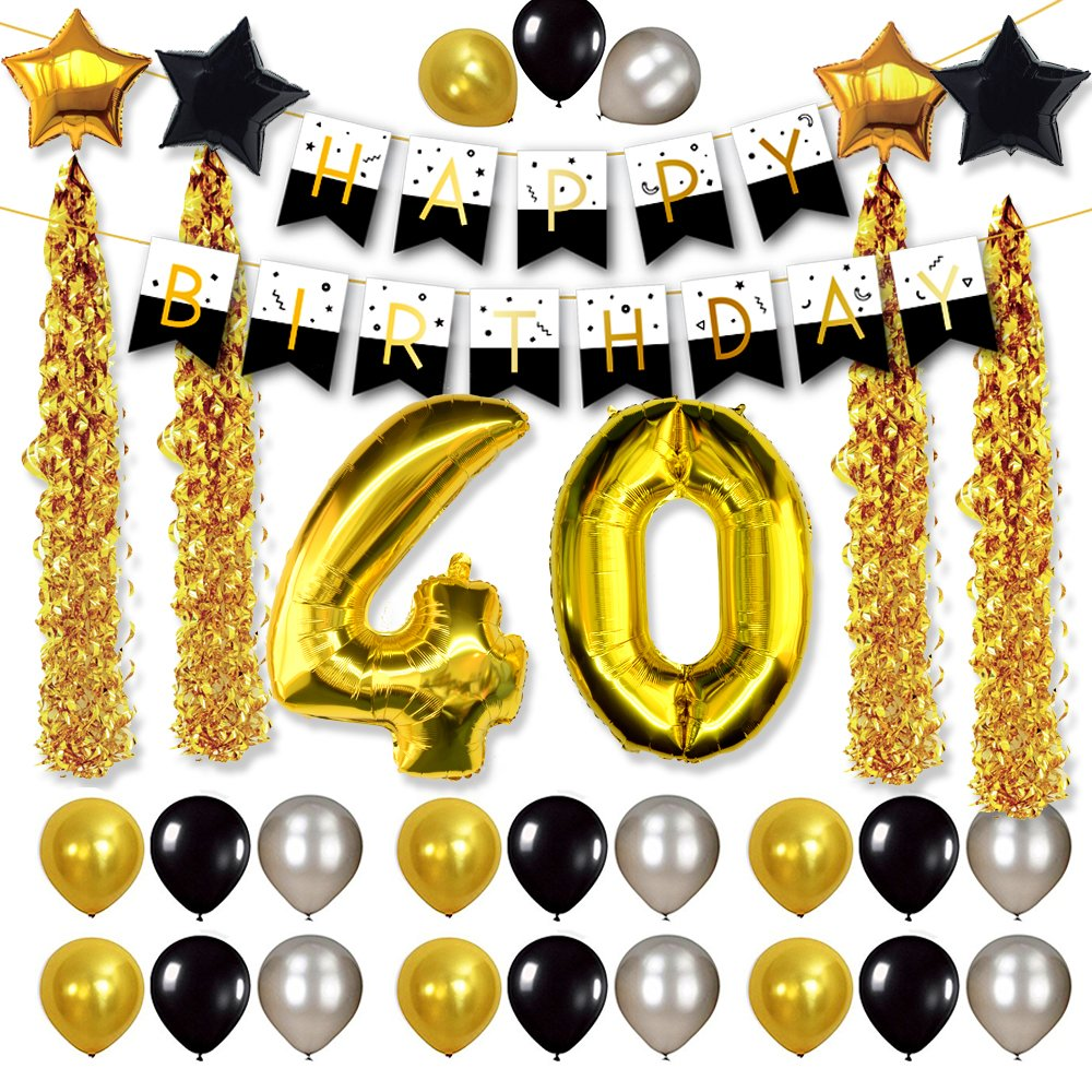 Happy birthday stylebanner clipart gold and white picture royalty free download FRIDAY NIGHT 40th Birthday Decorations and Celebration Party Supplies with  Balloon Banner - Happy Birthday Black and White Style Banner, 40th Gold ... picture royalty free download