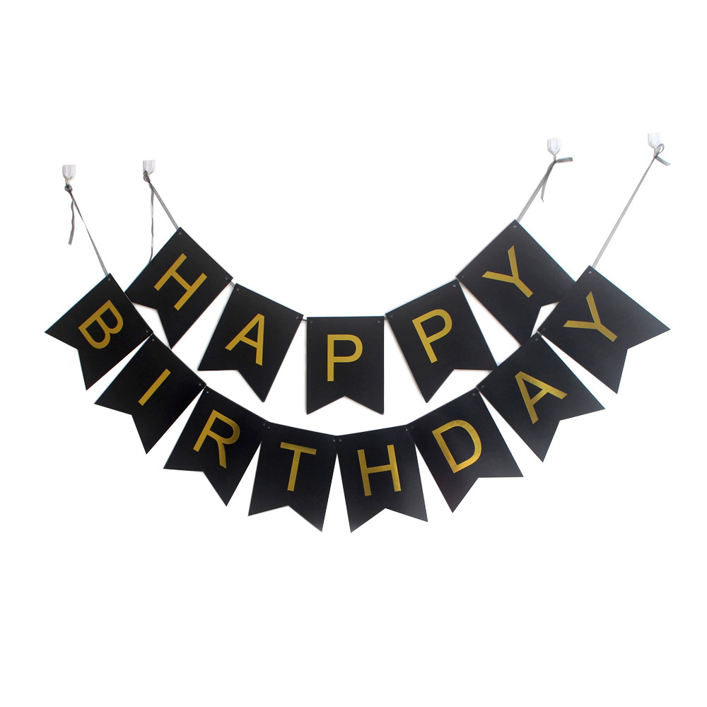 Happy birthday stylebanner clipart gold and white clip royalty free library US $345.6 10% OFF|100pack Happy Birthday Banner with Gold Letters Party  Decorations Swallowtail Bunting Flag garland Pink Blue White Mint&Black-in  ... clip royalty free library