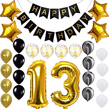 Happy birthday to a 13 year old clipart banner stock Happy 13th Birthday Banner Balloons Set for 13 Years Old Birthday Party  Decoration Supplies Gold Black banner stock