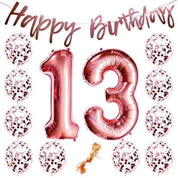 Happy birthday to a 13 year old clipart royalty free library 13th Birthday Party Decorations Rose Gold Decor Strung Banner (Happy  Birthday) & 12PC Helium... royalty free library