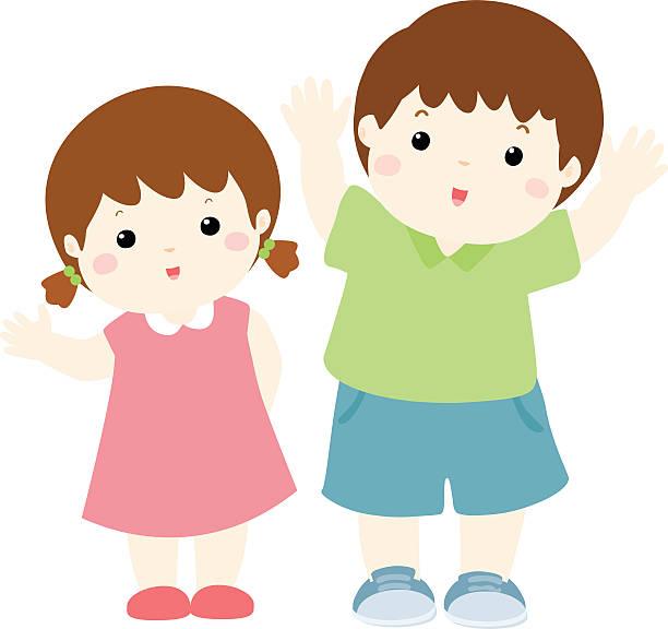 Happy boy and girl clipart vector download Happy boy and girl cartoon character vector » Clipart Station vector download