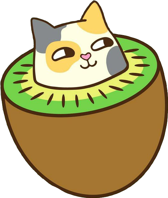 Happy cat clipart picture freeuse download sticker cat fruit kiwi kawaii catfruit happycat happy... picture freeuse download