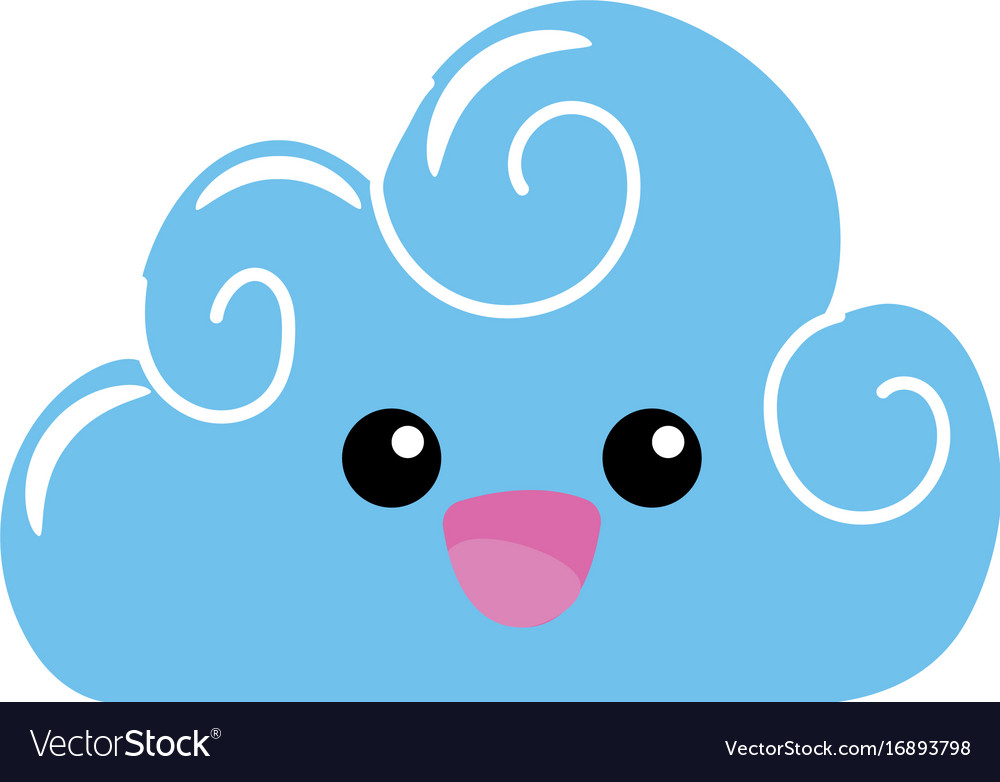 Happy cloud clipart black and white stock Kawaii cute happy cloud weather black and white stock