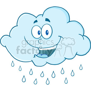 Happy cloud clipart banner free stock Royalty Free RF Clipart Illustration Happy Cloud Raining Cartoon Mascot  Character clipart. Royalty-free clipart # 396873 banner free stock