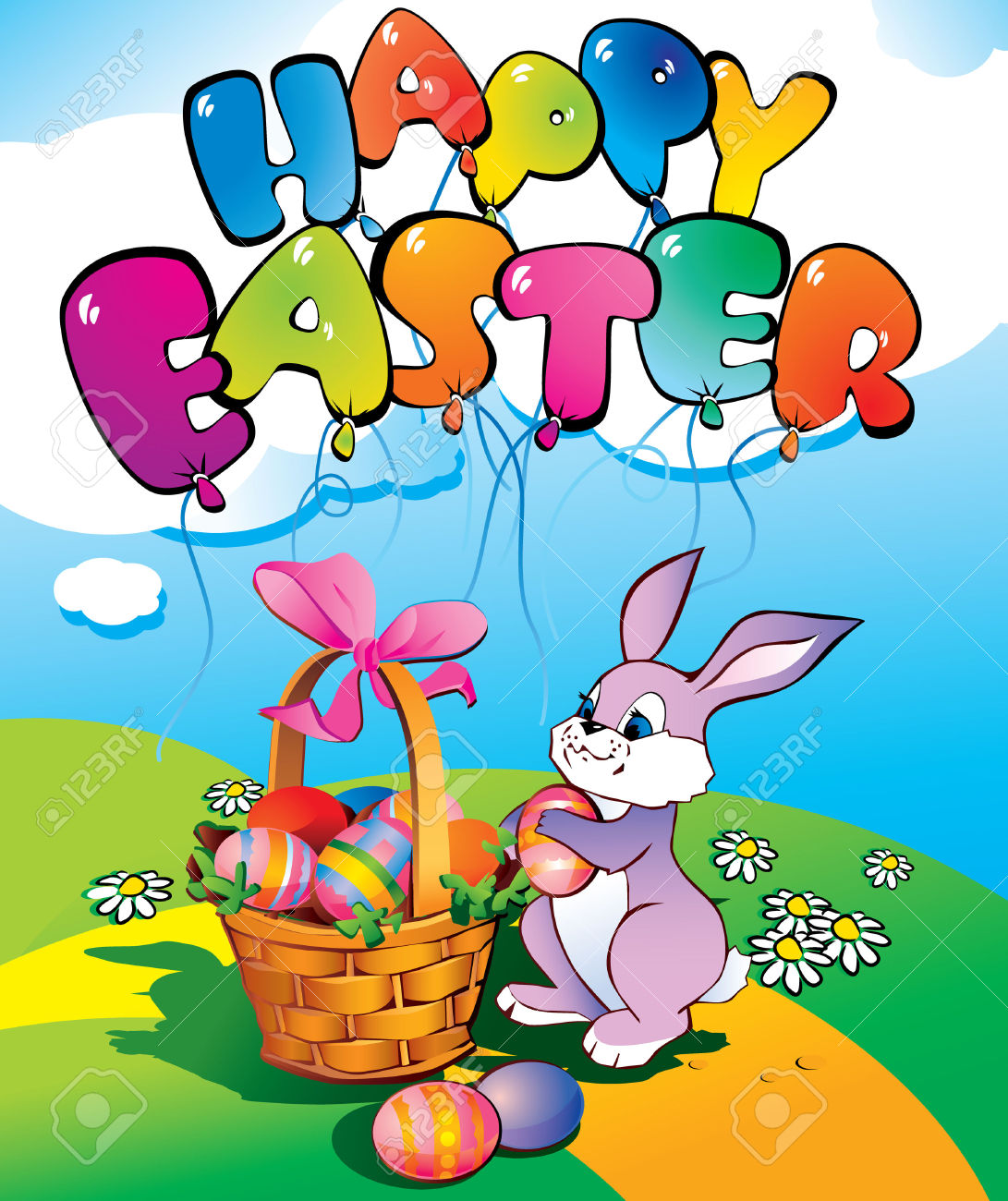 Happy easter basket clipart picture freeuse stock Easter Bunny With A Wicker Basket. Place For Your Text. Happy ... picture freeuse stock