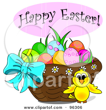 Happy easter basket clipart picture freeuse library Royalty-Free (RF) Clipart Illustration of a Happy Easter Greeting ... picture freeuse library