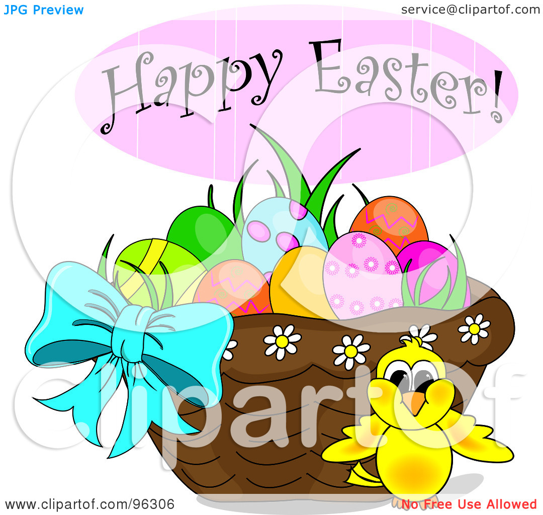 Happy easter basket clipart jpg download Royalty-Free (RF) Clipart Illustration of a Happy Easter Greeting ... jpg download