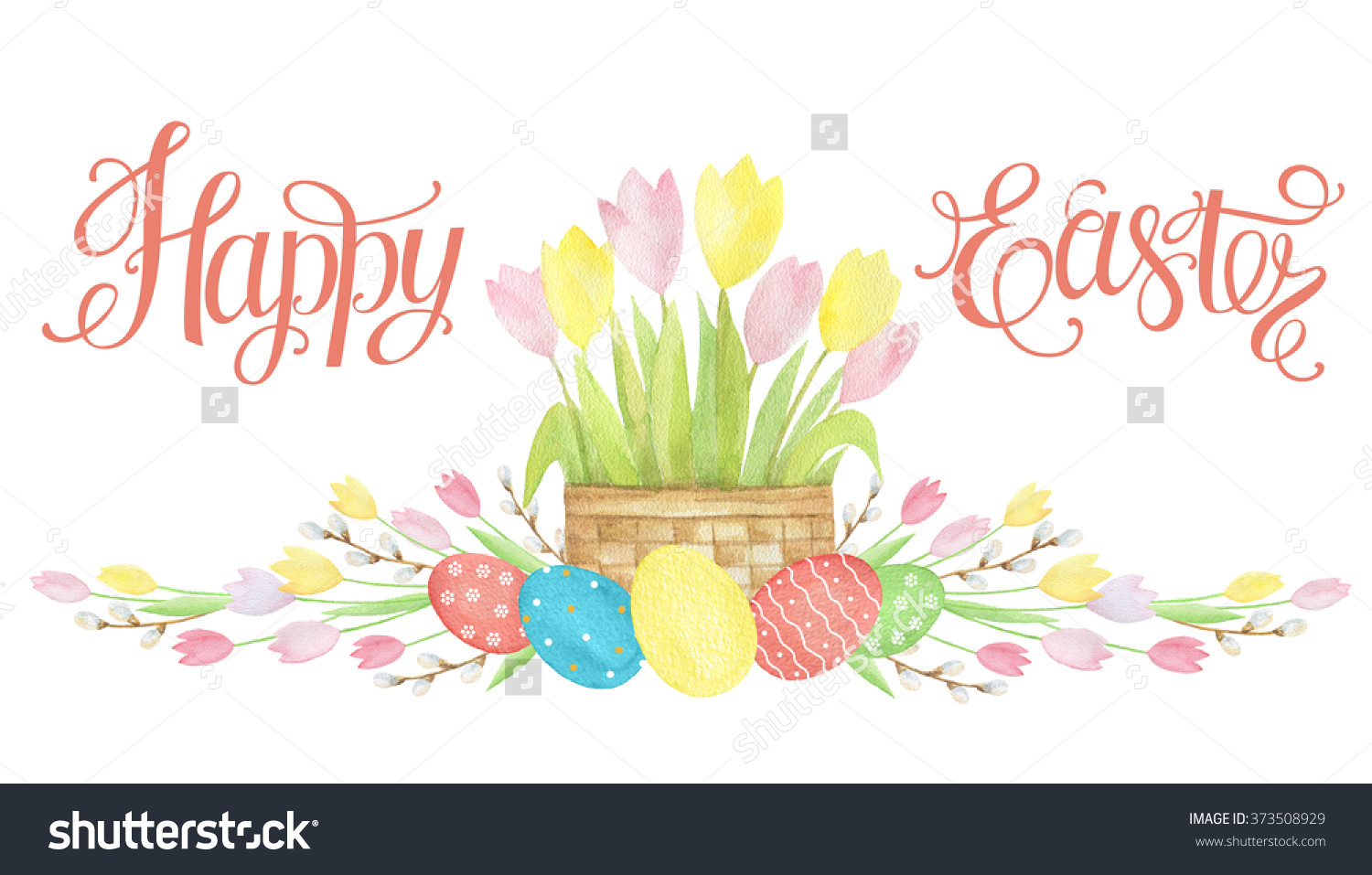Happy easter basket clipart clipart transparent library Watercolor Easter Basket Eggs Happy Easter Stock Illustration ... clipart transparent library