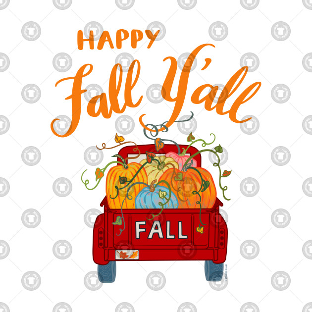 Happy fall yall clipart vector freeuse stock Happy Fall Y\'all Vintage Pumpkin Truck Autumn Season vector freeuse stock
