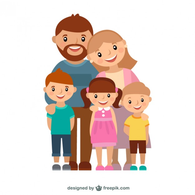 Happy family of 5 clipart 2 girls and 1 boy image free stock Family Vectors, Photos and PSD files | Free Download image free stock