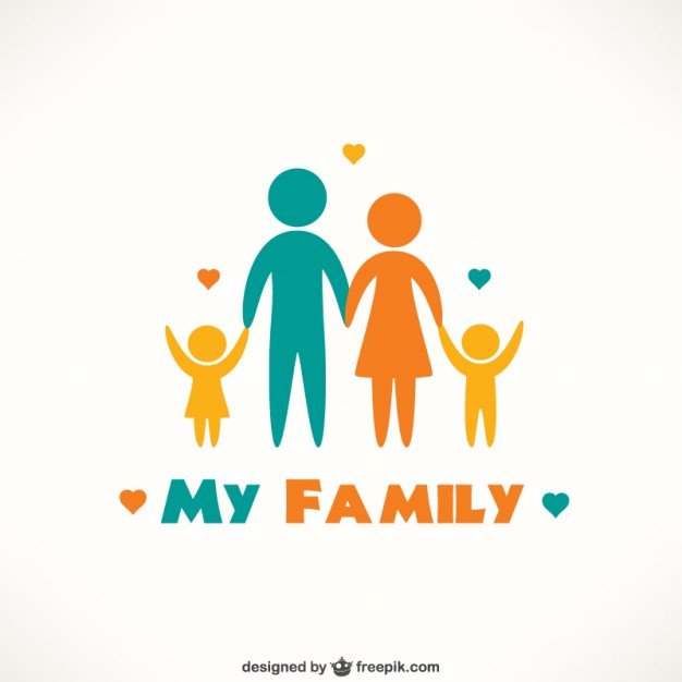 Happy family of 5 clipart 2 girls and 1 boy clip library download Happy family illustration Vector | Free Download clip library download