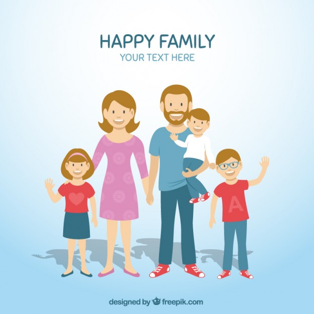 Happy family of 5 clipart 2 girls and 1 boy clip free download Family Vectors, Photos and PSD files | Free Download clip free download
