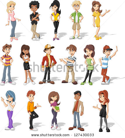 Happy family of 5 clipart 2 girls and 1 boy banner freeuse library Cartoon Stock Images, Royalty-Free Images & Vectors | Shutterstock banner freeuse library