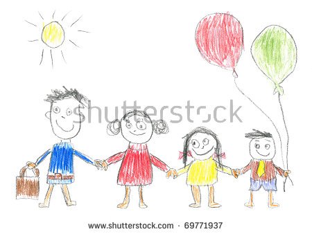 Happy family of 5 clipart 2 girls and 1 boy banner freeuse stock Kids Drawing Stock Images, Royalty-Free Images & Vectors ... banner freeuse stock