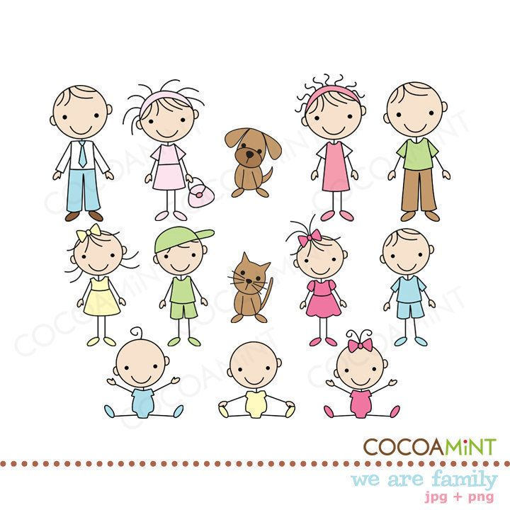 Happy family of 5 clipart 2 girls and 1 boy vector library Top 25 ideas about Stick Figure Family on Pinterest | Stick family ... vector library