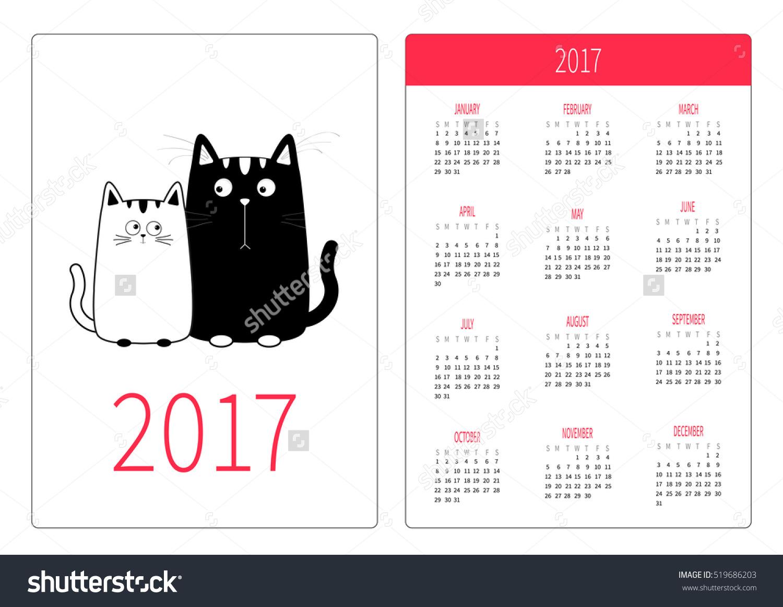 Happy family of 5 clipart 2 girls and 1 boy image free stock Pocket calendar 2017 year. Week starts Sunday. Flat design ... image free stock