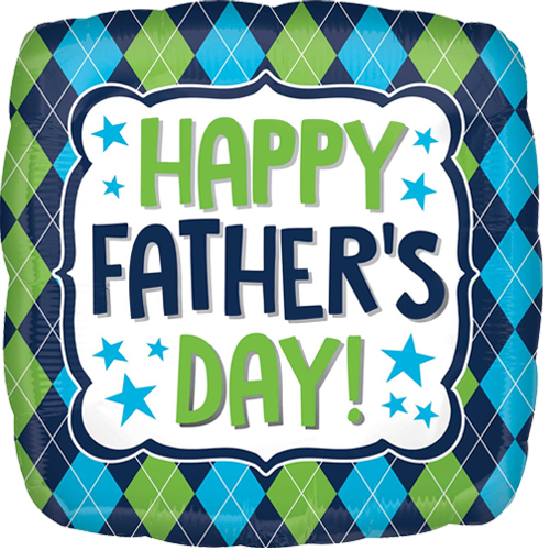 Happy fathers day blue and green clipart clipart library 18 inch Happy Father\'s Day Argyle Foil Balloon (1) clipart library