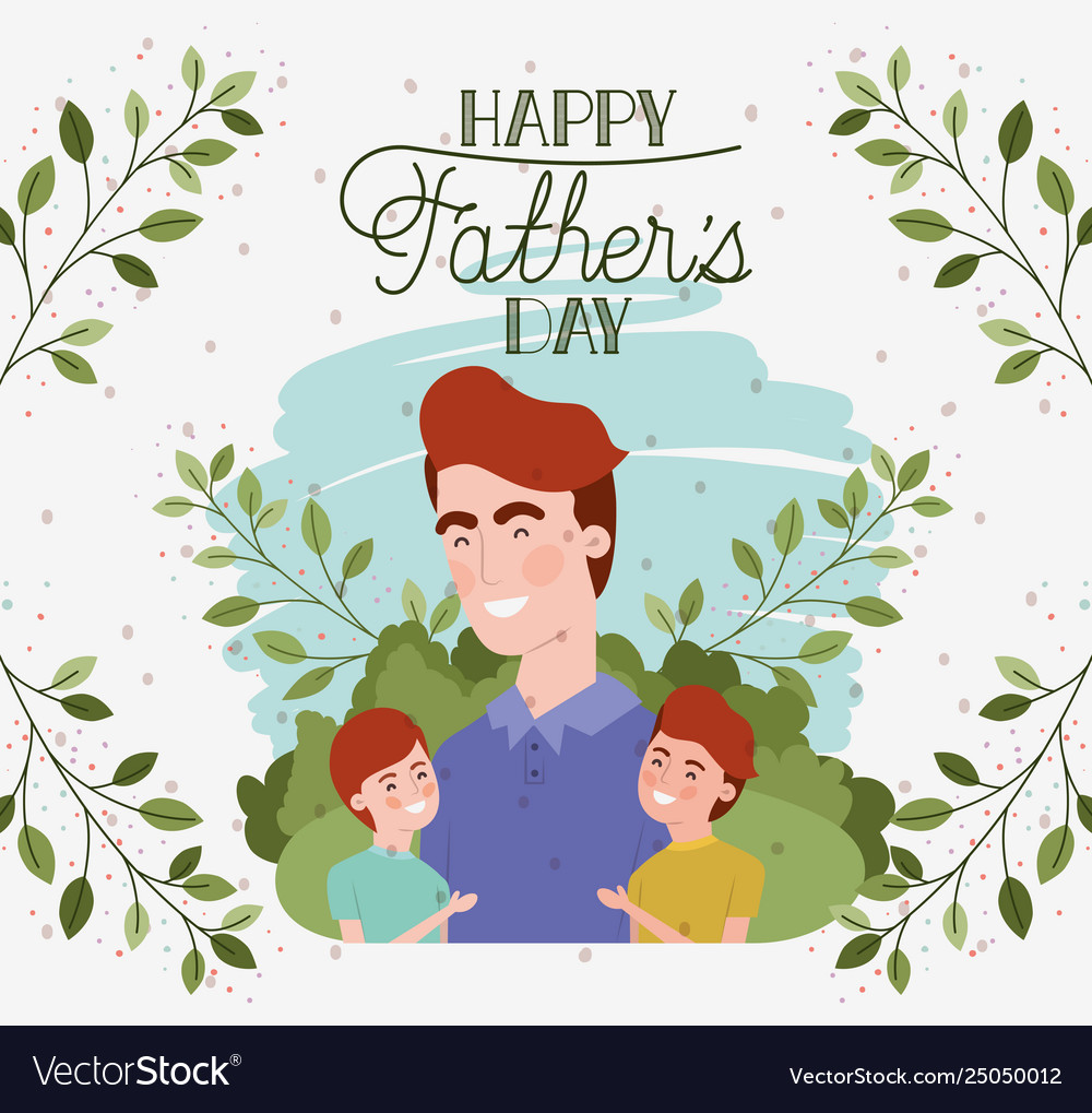 Happy fathers day to son free clipart png library stock Happy fathers day card with dad and sons png library stock