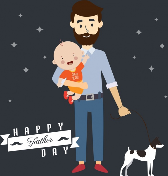 Happy fathers day to son free clipart graphic transparent Father day background happy dad and son icons Free vector in Adobe ... graphic transparent