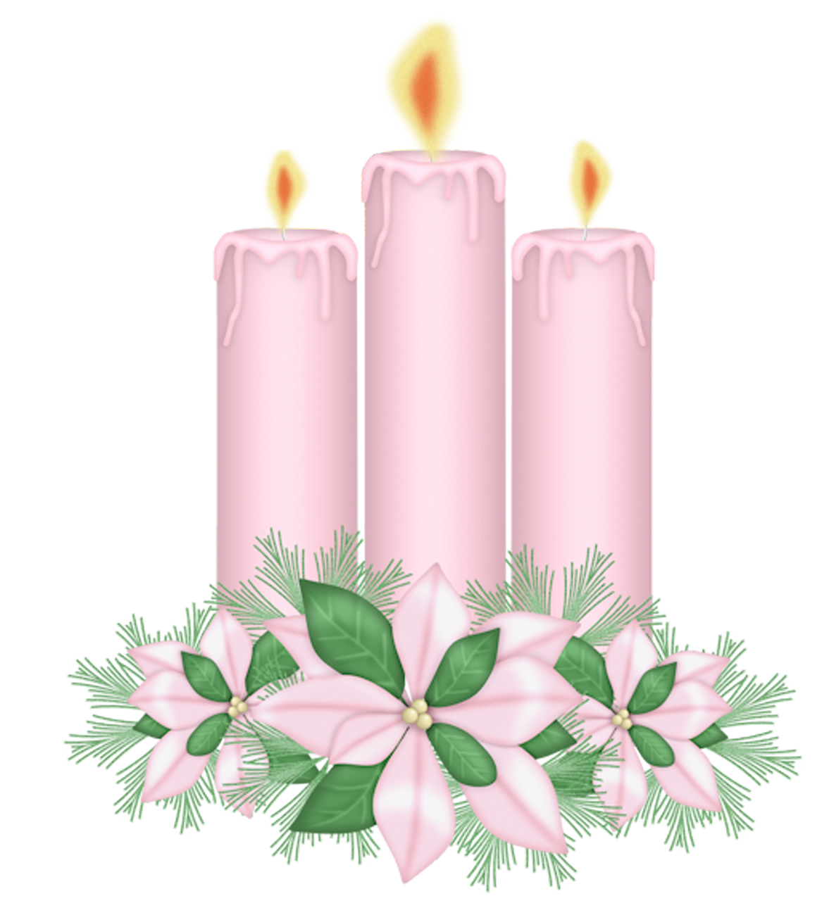 Happy flower clipart vector black and white stock Pink Candles with Flowers Clipart | Gallery Yopriceville - High ... vector black and white stock