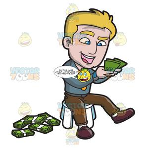 Happy guy clipart image transparent stock A Happy Guy Counting The Money Bills In His Hands image transparent stock