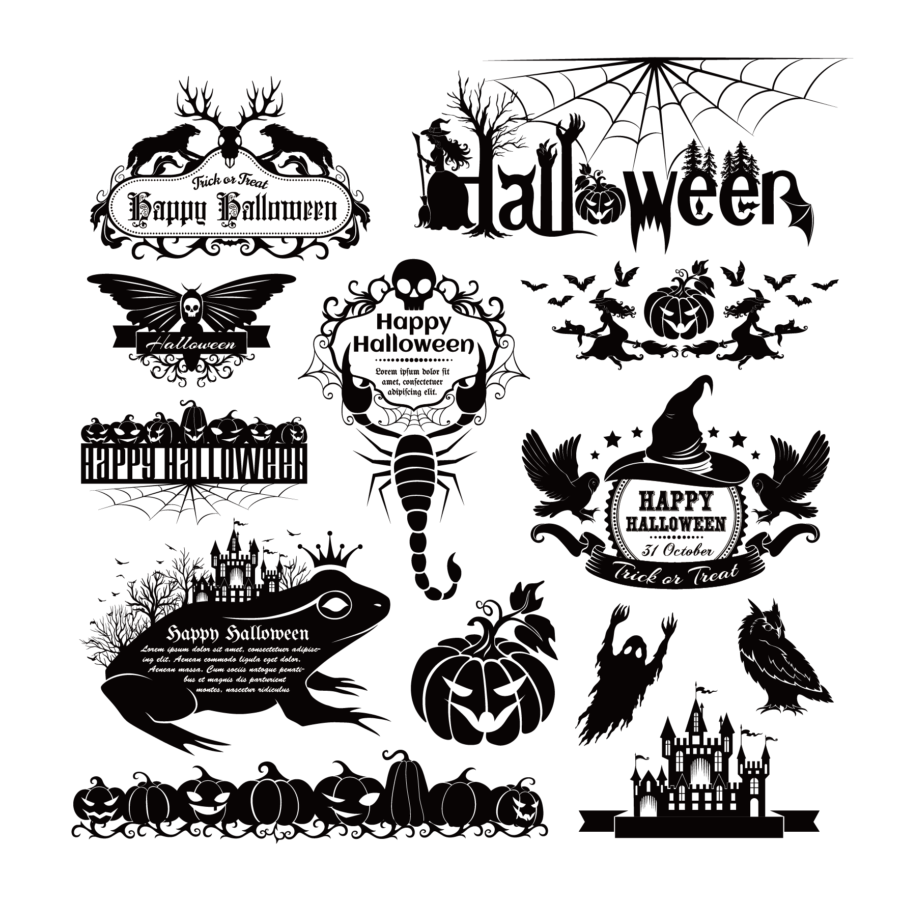 Happy halloween black and white clipart clip freeuse Euclidean vector Element Halloween - Vector Halloween Element 1772 ... clip freeuse