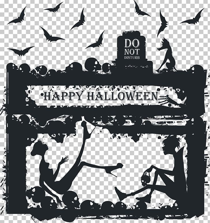 Happy halloween card clipart black and white clip art download Halloween Greeting Card Illustration PNG, Clipart, Background Black ... clip art download