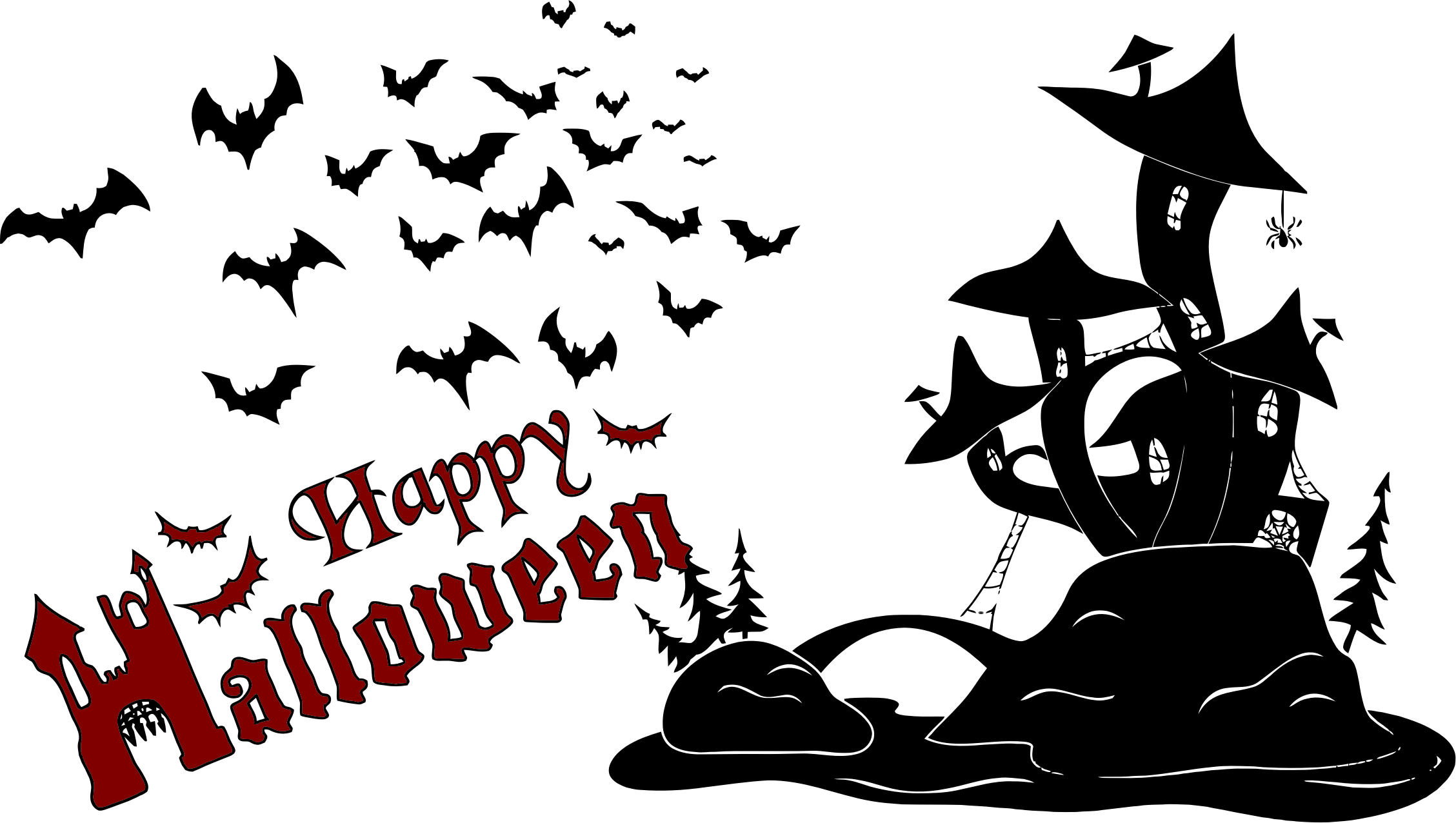 Happy halloween words clipart vector free Happy Halloween Scene Silhouette by @GDJ, Pixabay., on @openclipart ... vector free
