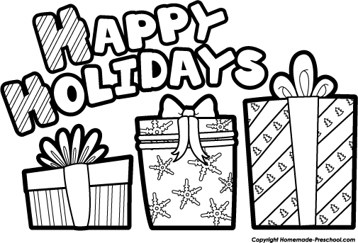 Holiday clipart black and white png transparent library Happy holidays clipart black and white » Clipart Portal png transparent library