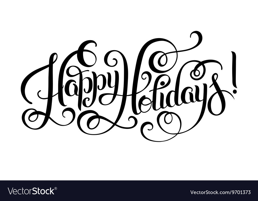 Happy holidays clipart black and white jpg transparent library Black and white Happy Holidays hand lettering jpg transparent library