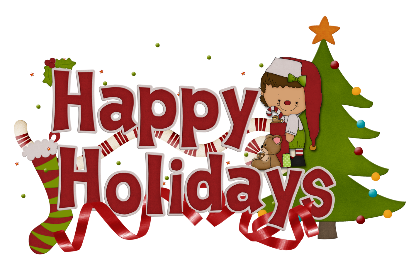 Happy holidays pictures free clipart graphic black and white free happy holidays clip art | Our Sneak Elf Friend and a Friday ... graphic black and white