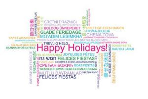 Happy holidays in different languages clipart