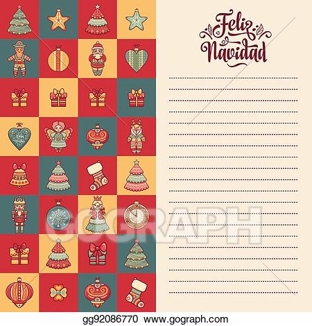 Happy holidays in different languages clipart free library EPS Vector - Feliz navidad. xmas card on spanish language. warm ... free library