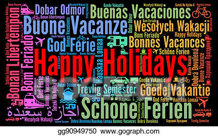 Happy holidays in different languages clipart graphic black and white download Drawing - Happy holidays word cloud in different languages. Clipart ... graphic black and white download