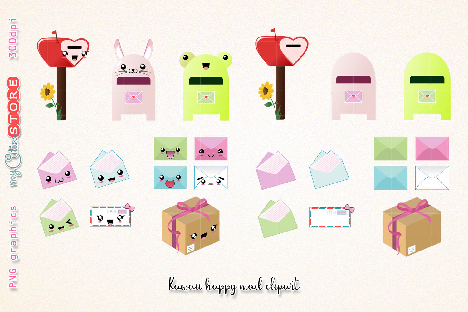 Happy mail clipart svg library Kawaii happy mail clipart, cute mailbox graphics set great for planner  stickers, scraps or digital planning. svg library
