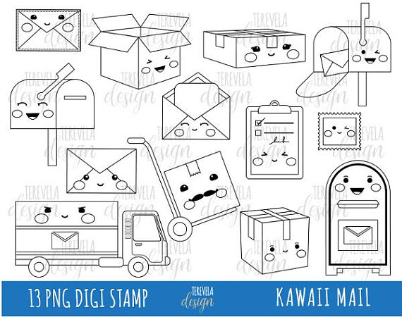 Happy mail clipart banner royalty free download 50% SALE MAIL digi stamp, post office stamps, Commercial use, Kawaii ... banner royalty free download
