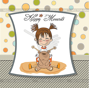 Happy moments clipart vector Happy moments card with little bear and her teddy - vector EPS clipart vector