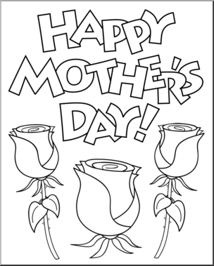 Happy mothers day black and white clipart vector free stock Clip Art: Happy Mother\'s Day 2 B&W I abcteach.com | abcteach vector free stock