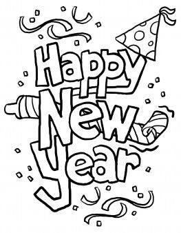 Happy new year 2016 clipart black and white clip art black and white library Print out happy new year clipart 2014 Coloring in sheets - Printable ... clip art black and white library