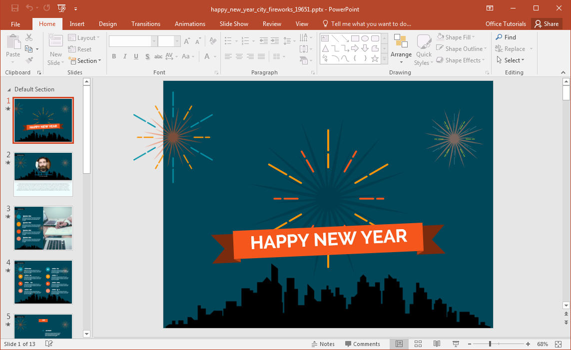 Happy new year 2016 clipart for outlook svg free Animated Happy New Year City Fireworks PowerPoint Template svg free