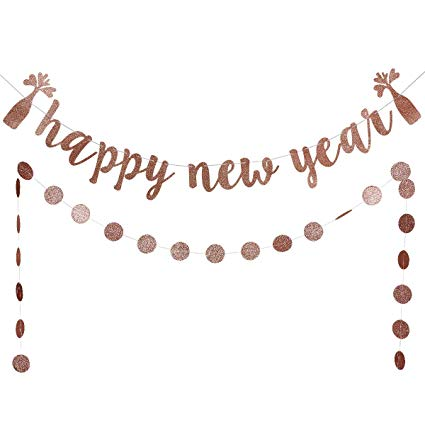 Happy new year 2019 banner clipart clip transparent download Rose Gold Glittery Happy New Year Banner and Rose Gold Glittery Circle Dots  Garland- 2019 New Years Eve Holiday Christmas Party Decoration Supplies clip transparent download