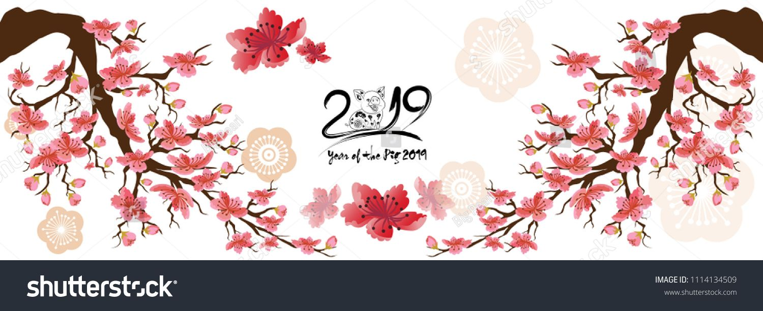 Happy new year 2019 banner clipart clipart black and white Set Banner Happy new year 2019 greeting card and chinese new year of ... clipart black and white