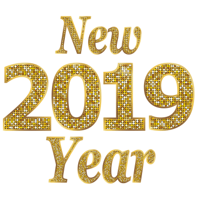 Happy new year 2019 clipart text image black and white library Happy New Year 2019 Gold Letters transparent PNG - StickPNG image black and white library