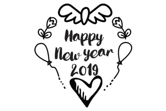 Happy new year clipart 2019 black and white banner black and white library Royalty Free Happy New Year 2019 Clipart - Clipart Junction banner black and white library