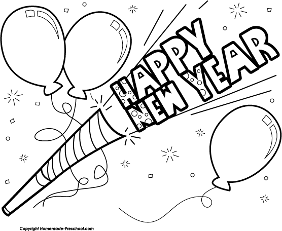 Happy new year black and white free clipart graphic transparent download Black And White New Year Clipart - Clip Art Library graphic transparent download