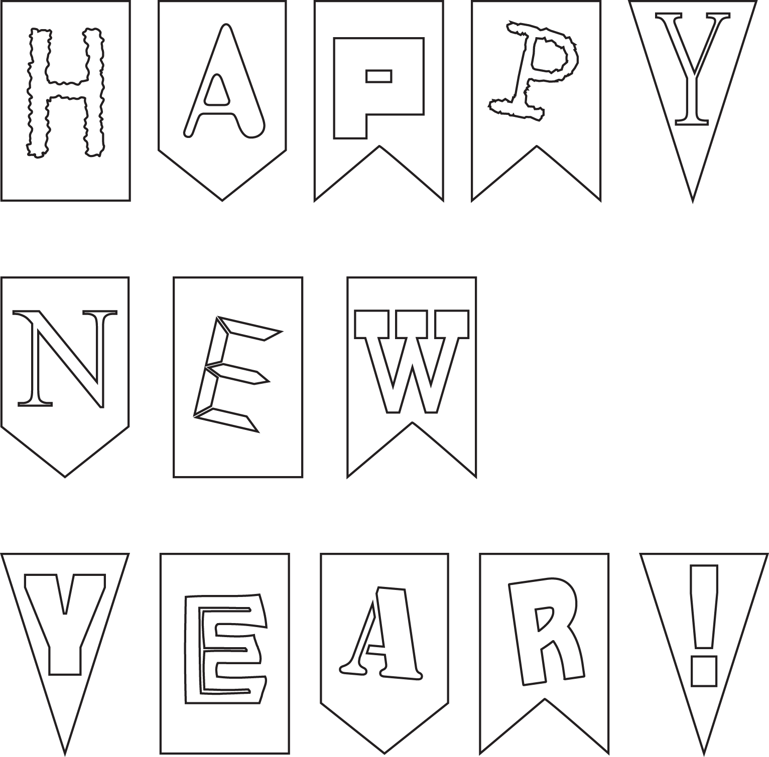 Happy new year cat clipart clip download outline of happy new year card banner for kids - Coloring Point clip download