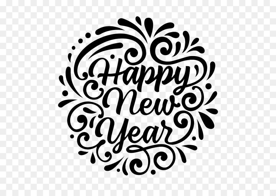 New year clipart 2019 black and white image download Illustration, Text, Font, transparent png image & clipart free download image download
