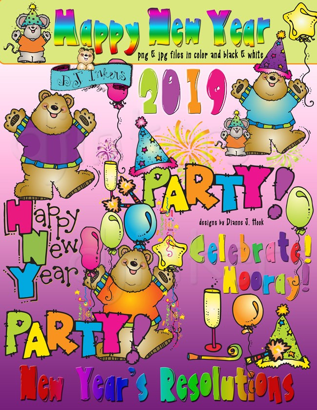 Happy new year clipart dj inkers jpg stock New Years celebration clip art images by DJ Inkers - DJ Inkers jpg stock