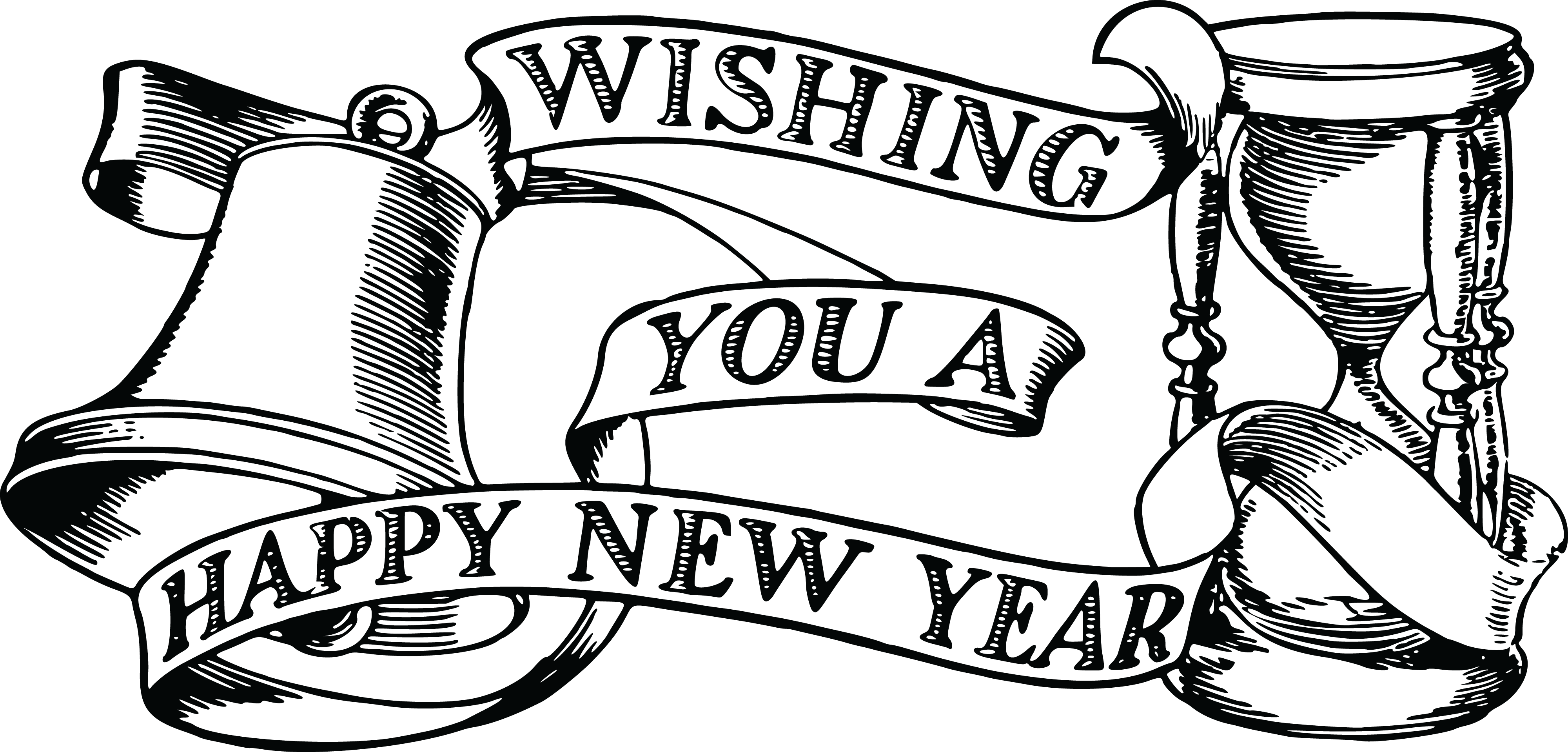 Happy new year clipart no background free graphic free download Download Free Clipart Of A Bell Hourglass And Happy New Year - Happy ... graphic free download